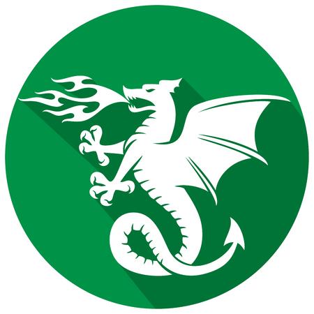 dragon fire: dragon flat icon Illustration