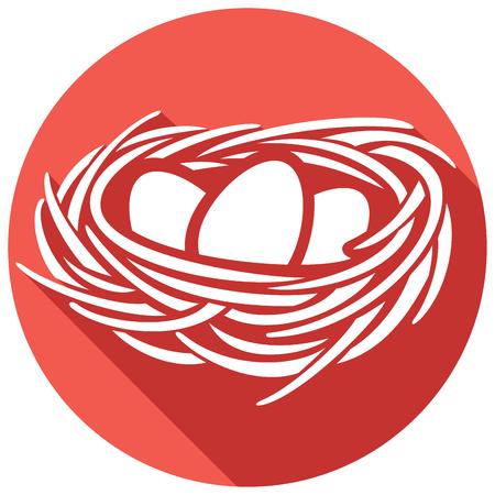 卵と巣のフラット アイコン