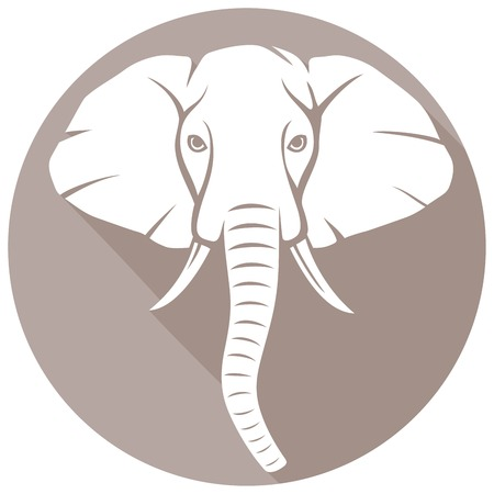 mammoth: elephant head flat icon