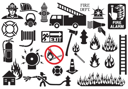 fire extinguisher sign: firefighter icons and symbols collection (fire department icons)