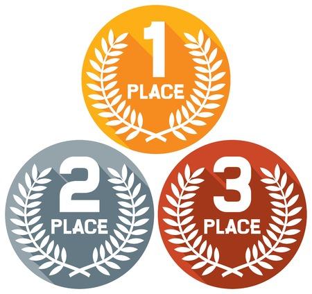 primer lugar, el segundo lugar y el tercer lugar del icono plana (Conjunto de oro, plata y bronce en los símbolos)