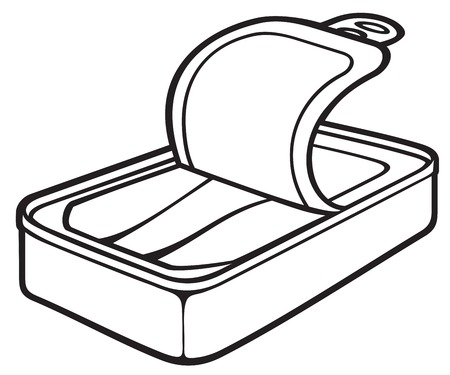 processed food: fish can (sardine tin, opened tin can) Illustration