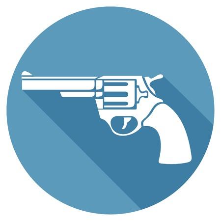 pistol: revolver flat icon (pistol vector, handgun)