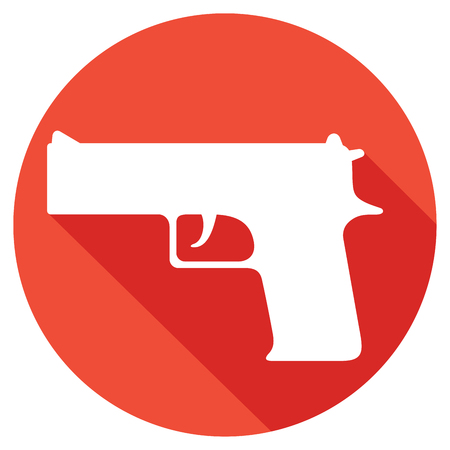 handgun: gun flat icon (pistol vector, handgun) Illustration