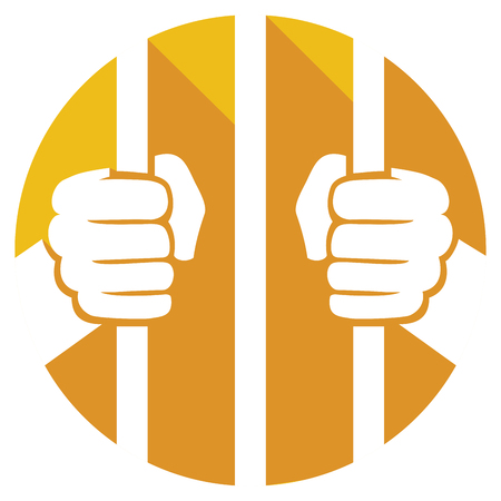 hands holding prison bars flat icon (hand behind prison bars sign)