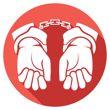 incarceration: hands in handcuffs flat icon (man hands with handcuffs icon)