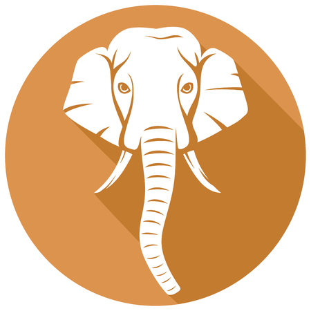 elephant: indian elephant head flat icon Illustration