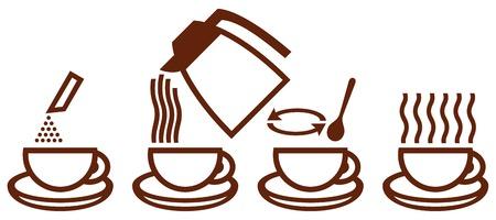 het maken van oploskoffie iconen (zorg instant koffie iconen, het bereiden van koffie, icon set voor proces van het brouwen van koffie)