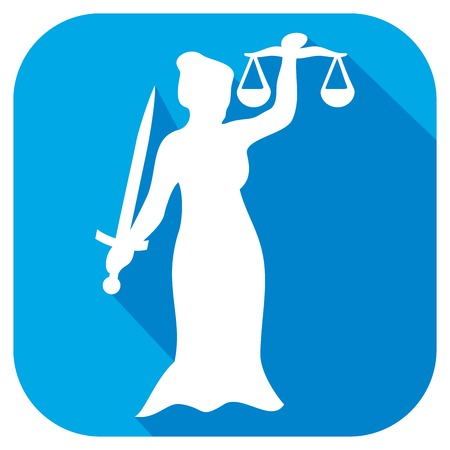 acquittal: justice statue flat icon (scales of justice symbol, lady justice - a goddess of justice sign) Illustration