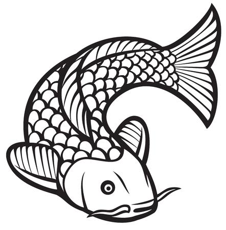koi vis (vector illustratie van een Japanse of Chinese geïnspireerde koi karper vissen)