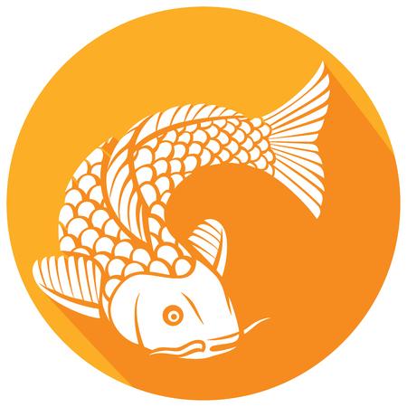 icono plano de pez koi (pez carpa koi de inspiración japonesa o china) Ilustración de vector