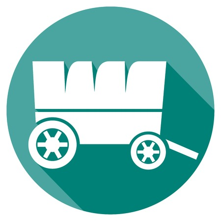 horse and cart: old horse wagon flat icon (wooden cart)