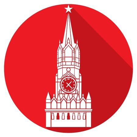 kremlin: kremlin tower with clock in moscow flat icon (spasskaya tower of the moscow kremlin, kremlin clock of the spasskaya tower)