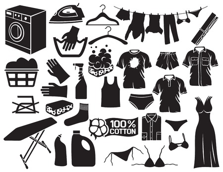 laundry and cleaning icons (housework and laundry theme, soap with foam, washing machine, clothes hanging on a clothesline, detergent) Vetores