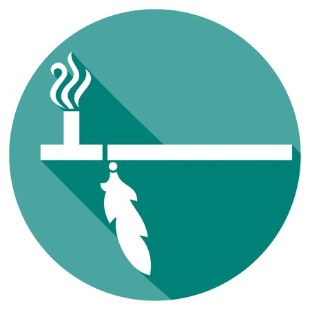 traditional native american peace pipe flat icon Illustration