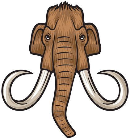 elephant angry: mammoth head Illustration