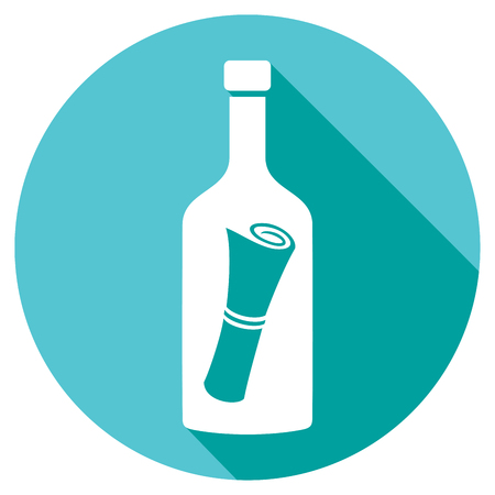 messages: message in a bottle flat icon (letter in a bottle symbol) Illustration