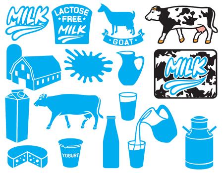 caja de leche: Colección de los iconos de la leche (lactosa etiqueta libre, de cabra, de contenedores para el yogur, leche jarra, jarra, leche retro puede, etiqueta de la leche, la leche de paquete o caja, granero y silo, granja)