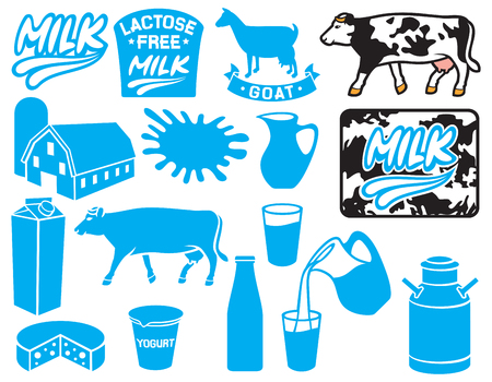 yogurt: milk icons collection (lactose free label, goat, container for yogurt, milk jug, pitcher, retro milk can, milk label, milk packet or box, barn and silo, farm)