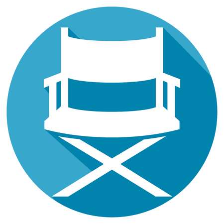s video: director chair flat icon (directors chair in film industry) Illustration