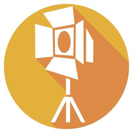entertaining presentation: movie spot lights flat icon Illustration