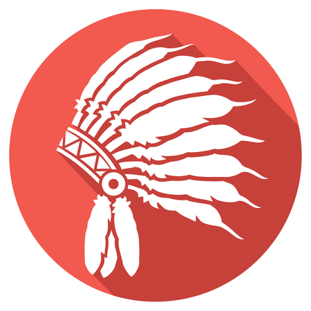 chief: native american indian chief headdress flat icon (indian chief mascot, indian tribal headdress, indian headdress)