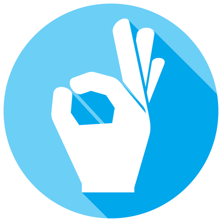 ottimo: icona mano va bene piatta (simbolo della mano OK, mano mostrando segno giusto)