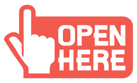 here: open here label or sticker