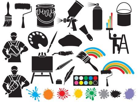 colección de pintura de iconos (pintor, brocha, rodillo de pintura, boina pintor, cubo de pintura, lienzo sobre un caballete, manchas de aerosol estaño, pistola de pulverización, paleta de arte con pinturas) Ilustración de vector