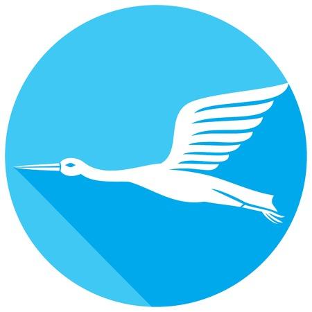 usual: stork flat icon Illustration