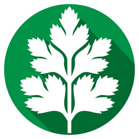 pietruszki płaskim ikona (symbol pietruszka, zielone liście pietruszki) Ilustracje wektorowe