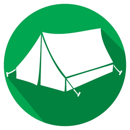 habitation: tourist tent for travel and camping flat icon Illustration