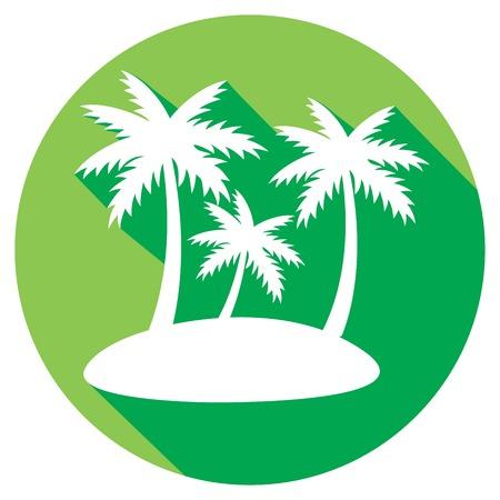 tahiti: tropical island with palms flat icon