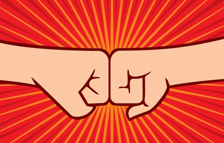 two fists punching each other (clashing fists) Stock Illustratie