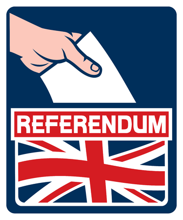 slot in: voting in the united kingdom european union membership referendum - illustration of a ballot box (hand putting a voting ballot in a slot of box, hand voting icon)