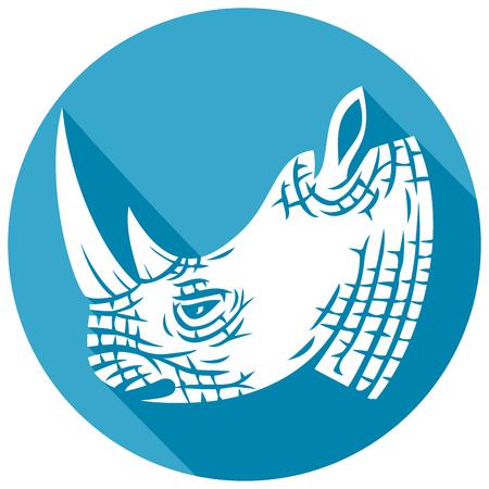 rhino head flat icon (rhino design)