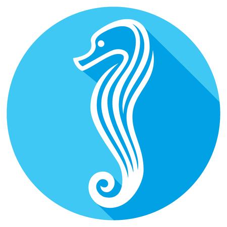 horse sea: sea horse stylized flat icon