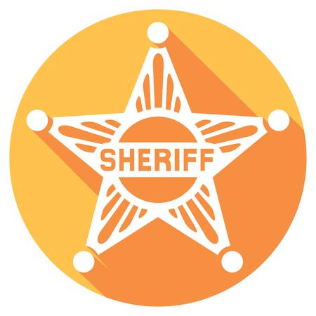 sheriff: sheriff star flat icon (sheriff badge, sheriff shield) Illustration
