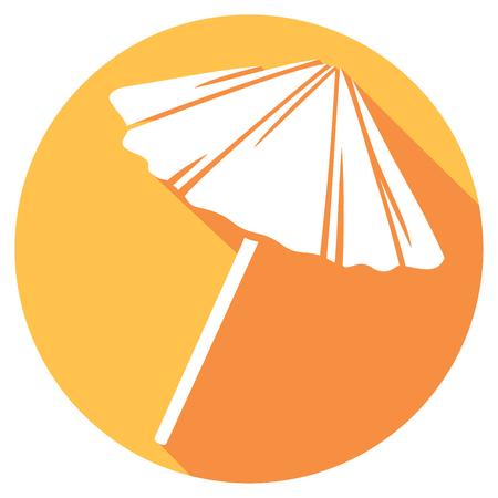 paraguas de la paja icono plana (sombrilla icono de madera plana, sombrilla de playa)