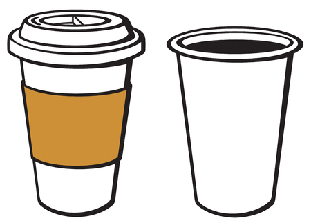 takeout: paper cup of coffee (take-out coffee, coffee in takeaway cup) Illustration