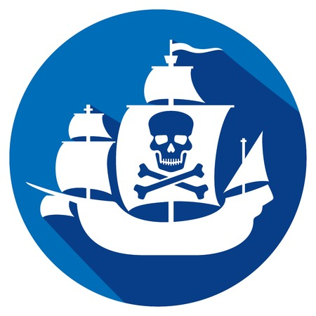 piracy: pirate ship with skull with crossed bones on the sail flat icon