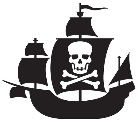 pirate ship with skull with crossed bones on the sail (pirate ship) Stock Illustratie