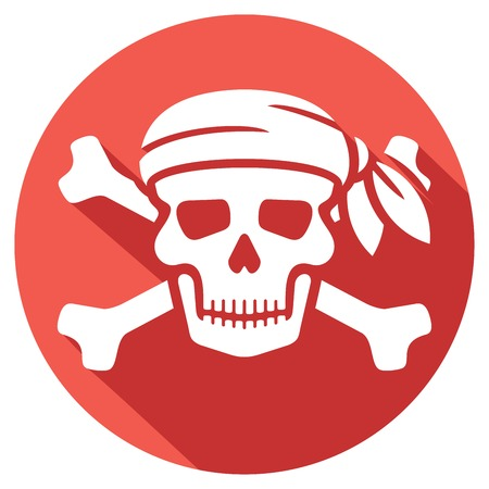 calavera: cráneo del pirata con el pañuelo rojo y huesos icono plana (cráneo símbolo de los piratas, cráneo con huesos cruzados)