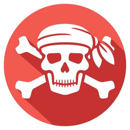 skull and cross bones: pirate skull with red bandanna and bones flat icon (skull pirates symbol, skull with crossed bones)