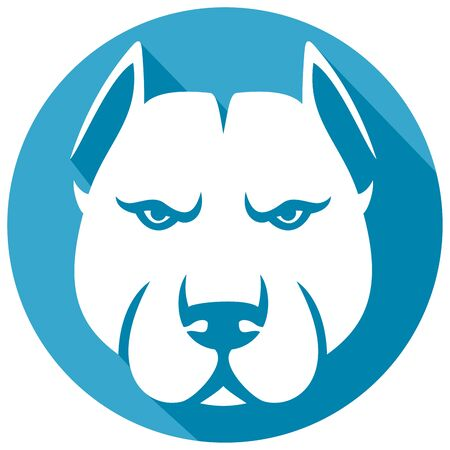 pit bull: pit bull head flat icon (pit bull terrier) Illustration