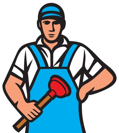 disgusting: plumber holding a plunger (plumber worker, plumber in uniform with tools) Illustration