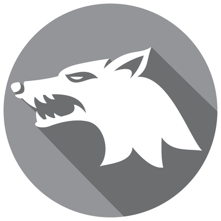 grey hair: vector illustration of wolf face flat icon (wolf head)
