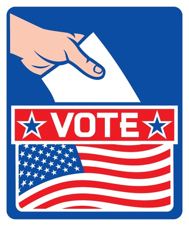 slot in: illustration of a ballot box with the flag of the united states of america (hand putting a voting ballot in a slot of box, usa elections icon)