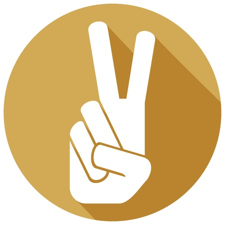 gesticulation: the victory symbol flat icon (victory hand gesture, gesticulate hand victory sign) Illustration