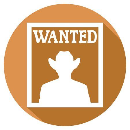 desperado: old wanted poster flat icon Illustration